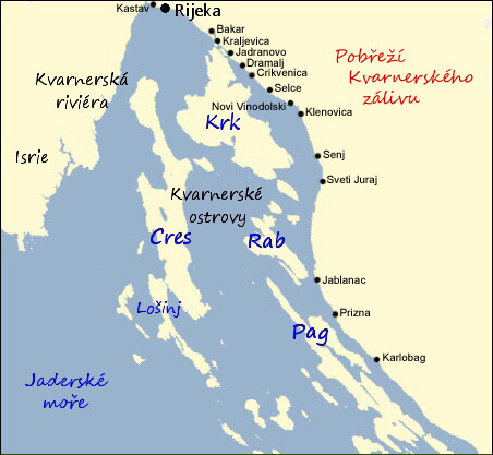 Mapa Mapa Chorvatsko Pobrezi