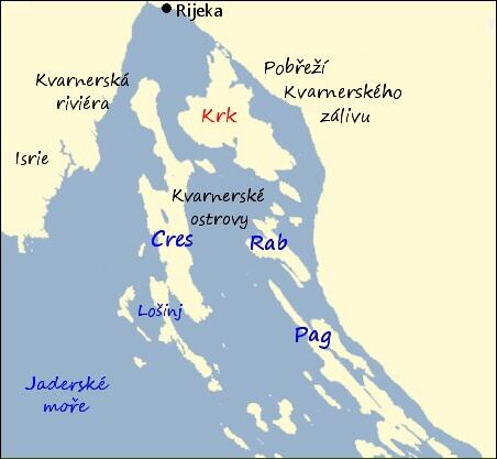 Krk chorvatsko mapa
