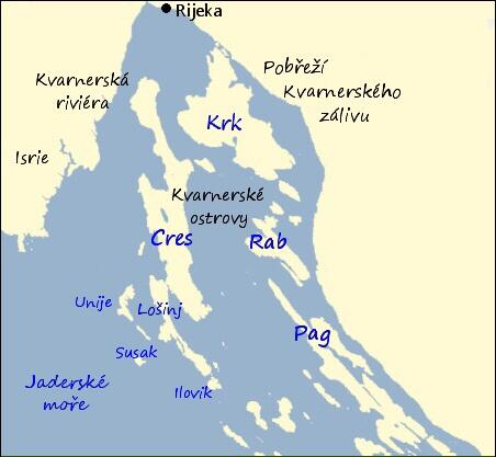 Chorvatské ostrovy mapa
