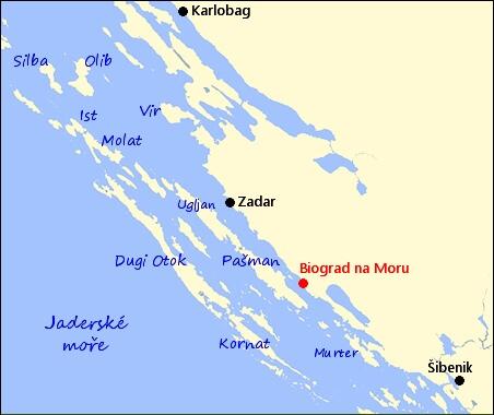 Biograd na Moru Mapa Mesta Biograd na Moru Informace o