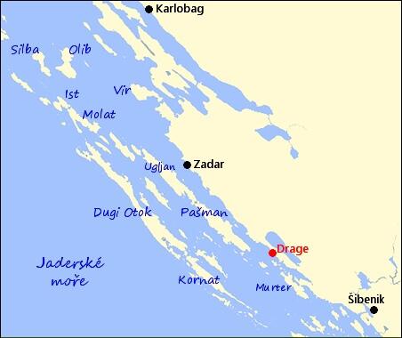 Mapa Drage Chorvatsko Mapa