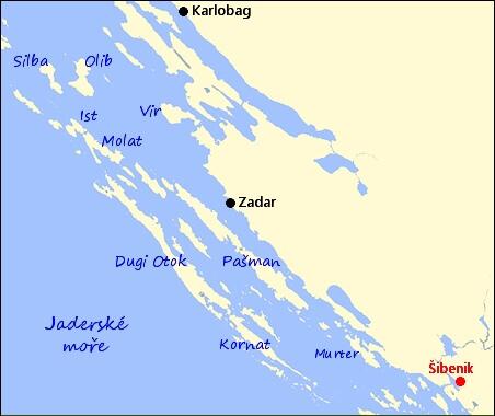 Mapa Sibenik Chorvatsko Mapa
