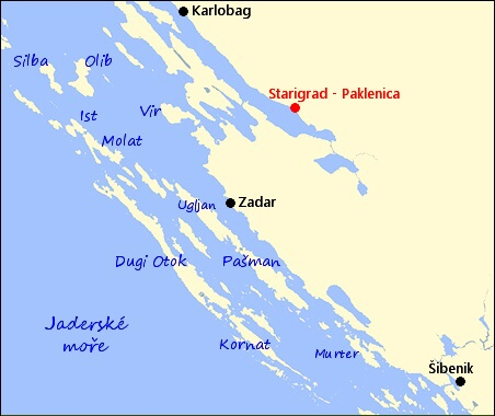 Mapa Chorvatsko Paklenica Mapa