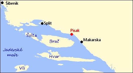 Mapa Pisak Chorvatsko Mapa